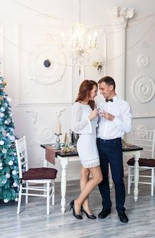 Belle giovani coppie che celebrano il natale a casa