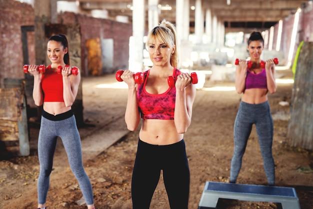 Belle giovani donne che si esercitano all'aperto. allenamento fitness con manubri.