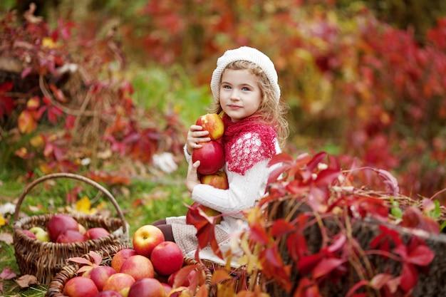 Belle mele della tenuta della bambina nel giardino di autunno. . bambina che gioca nel meleto. bambino che mangia frutta al raccolto di autunno. divertimento all'aria aperta per i bambini. nutrizione sana