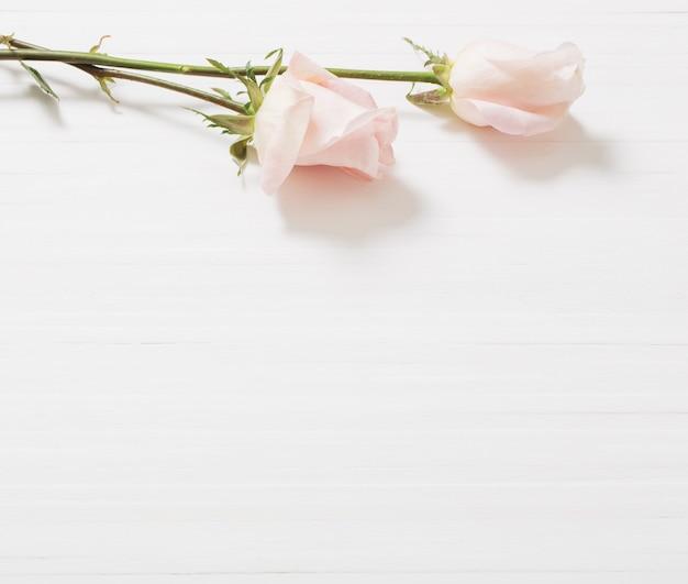 Belle rose su fondo in legno