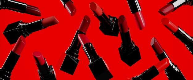 Bellezza . rossetti di colore rosso del primo piano su rosso. illustrazione di rendering 3d.