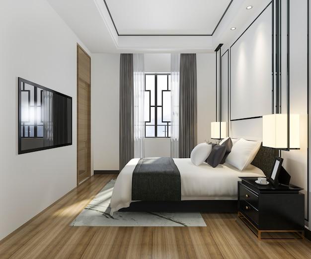 Bellissima camera da letto asiatica di lusso minimale in hotel con tv