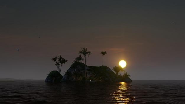 Bellissima isola con un fuoco e palme