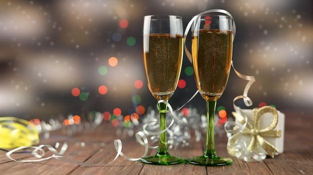 Bellissimi bicchieri con champagne