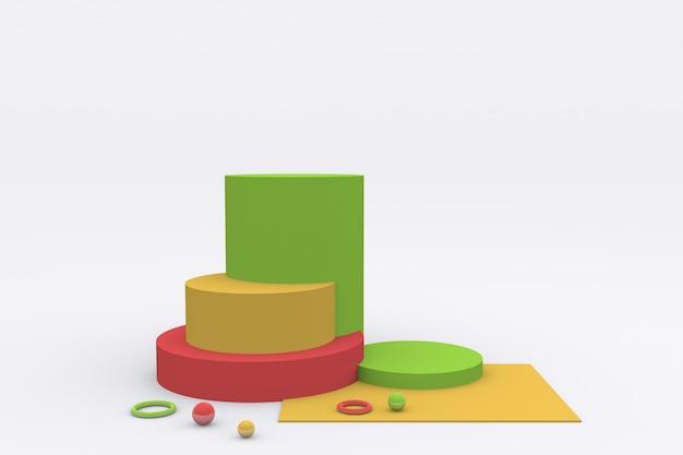 Bellissimo display colorato del prodotto piedistallo di visualizzazione della piattaforma per i bambini rendering 3d
