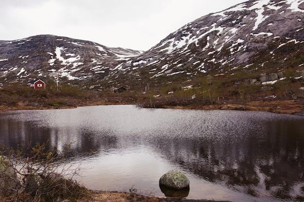 Bellissimo lago prima delle montagne coperte di neve