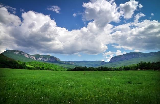 Bellissimo paesaggio con campo, montagne e cielo nuvoloso.