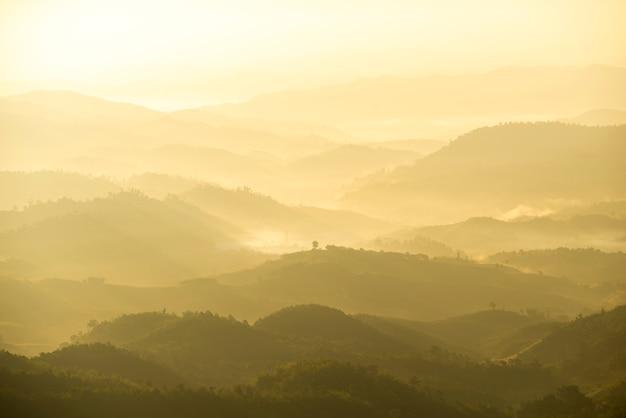 Bellissimo paesaggio della catena montuosa verde con nebbia in mattinata