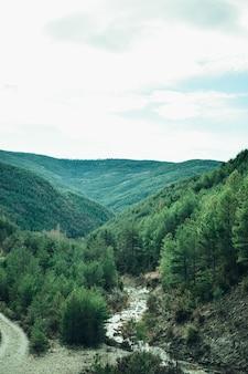Bellissimo paesaggio della valle con un fiume
