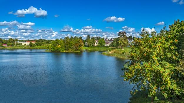 Bellissimo paesaggio estivo con una scogliera in riva al lago.