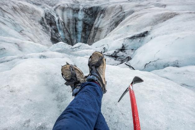 Bellissimo paesaggio su un ghiacciaio