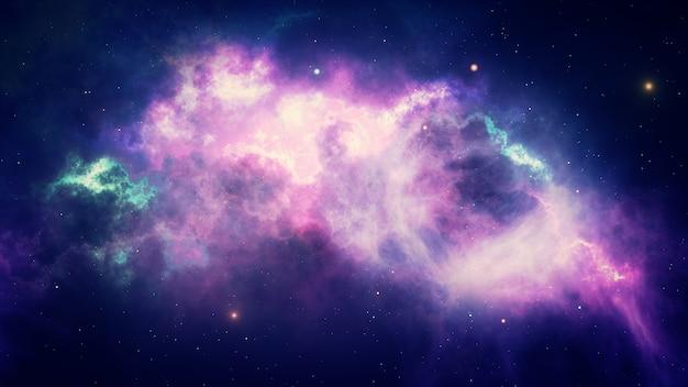 Bellissimo spazio, stelle e nebulose luminose, galassie