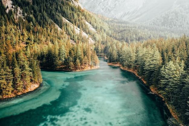 Bello colpo aereo di un fiume blu che funziona in una foresta