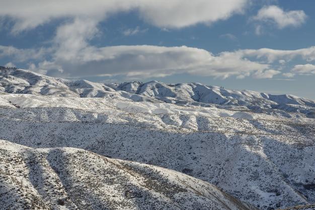 Bello colpo delle montagne nevose con gli alberi sotto un cielo nuvoloso blu di giorno