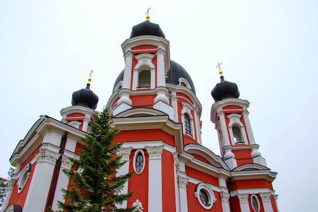 Bello colpo di angolo basso del famoso monastero di curchi in moldavia