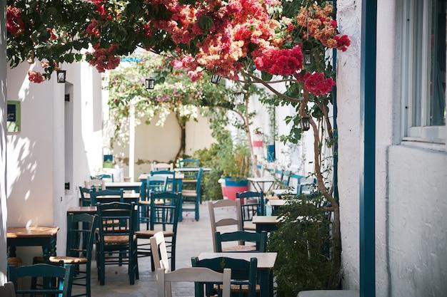 Bello colpo di un caffè all'aperto nella stretta stradina di paros, in grecia