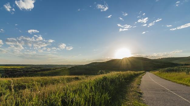Bello colpo di una strada vicino all'erba e alle montagne con un chiaro cielo