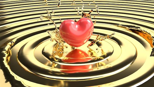 Bello cuore rosso sul liquido dell'oro, concetto di giorno di s. valentino