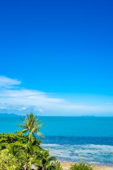 Bello oceano tropicale del mare con l'albero del cocco sulla nuvola di bianco del cielo blu