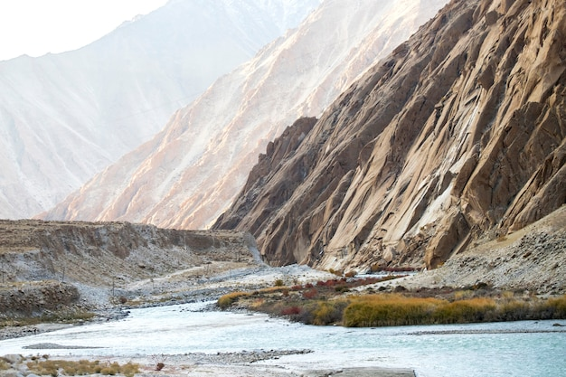 Bello paesaggio, autumn colorful and himalayas mountains in leh ladakh, parte settentrionale dell'india