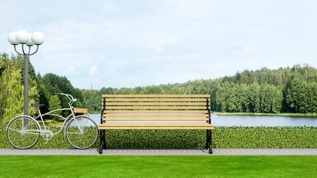 Bench e bicicletta nella vista del lago e del giardino - rappresentazione 3d