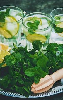 Bere lime e menta. messa a fuoco selettiva cibo.