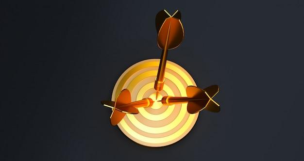 Bersaglio con una freccia al centro. concetto di raggiungimento oggettivo. bersaglio d'oro