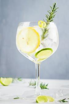 Bevanda alcolica, cocktail gin tonic, con limone, lime, rosmarino e ghiaccio.