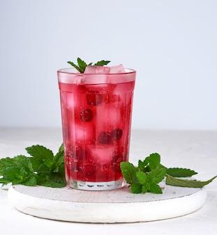 Bevanda rinfrescante estiva con bacche di mirtilli rossi e pezzi di ghiaccio