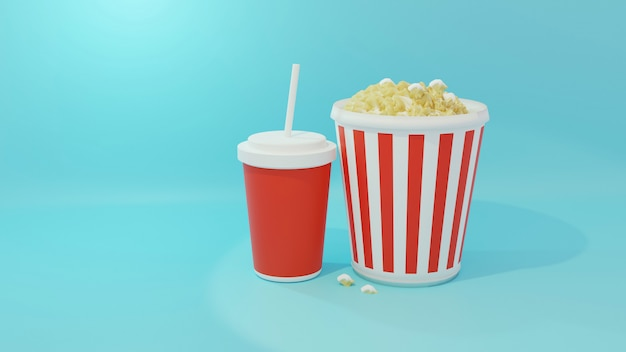 Bevande analcoliche e popcorn in secchio a strisce, rappresentazione 3d. stile cartoon.