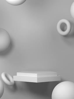 Bianco astratto con podio di forma geometrica per prodotto. concetto minimale. rendering 3d
