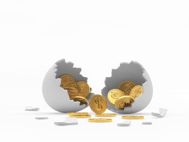 Bianco guscio d'uovo rotto con monete d'oro