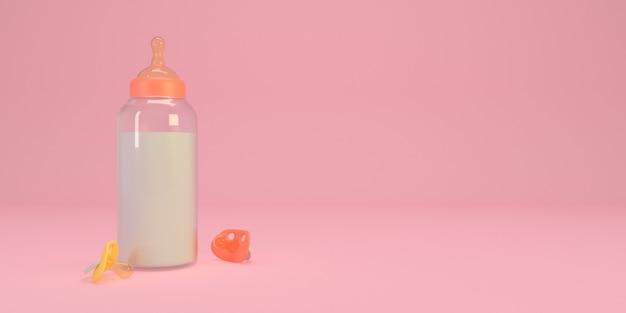 Biberon con ciuccio rosa
