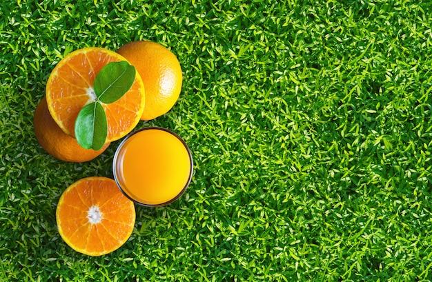 Bicchiere di succo d'arancia da sopra su erba verde.