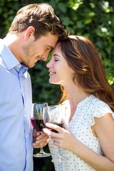 Bicchieri di vino romantici della tenuta delle coppie all'iarda anteriore