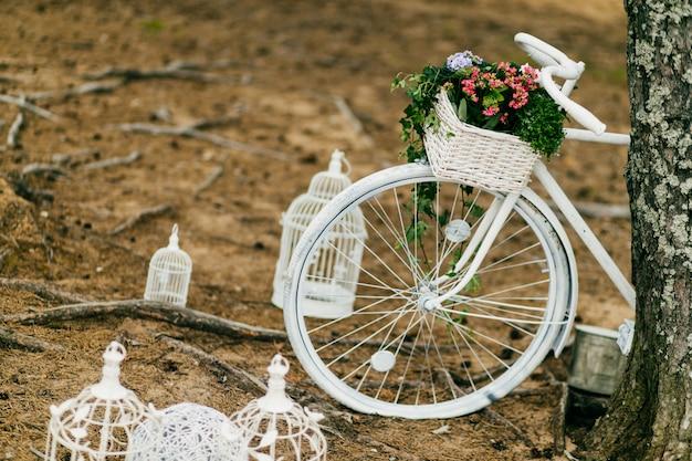 Bicicletta bianca e gabbie