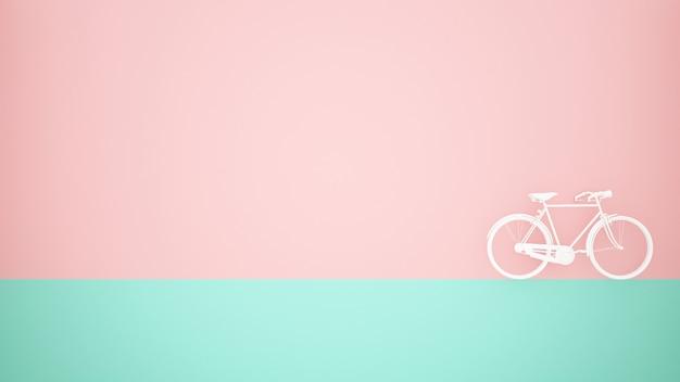 Bicicletta bianca sul pavimento verde e sul fondo rosa della parete