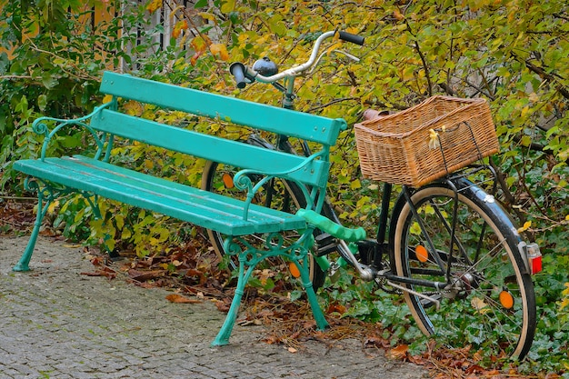 Bicicletta con un cestino di vimini sul bagagliaio