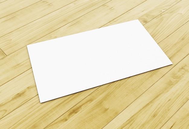 Biglietto da visita in bianco 3d sulla tavola di legno