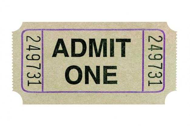 Biglietto di ammissione grigio isolato su sfondo bianco.
