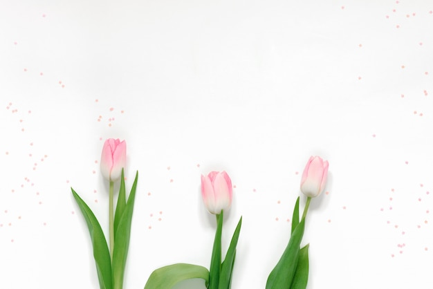 Biglietto di auguri di primavera con tulipani rosa e coriandoli rosa su uno sfondo bianco e copia spazio. festa della mamma, san valentino e festa della donna l'8 marzo