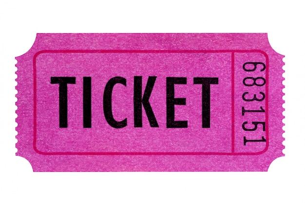 Biglietto viola o rosa isolato su bianco.