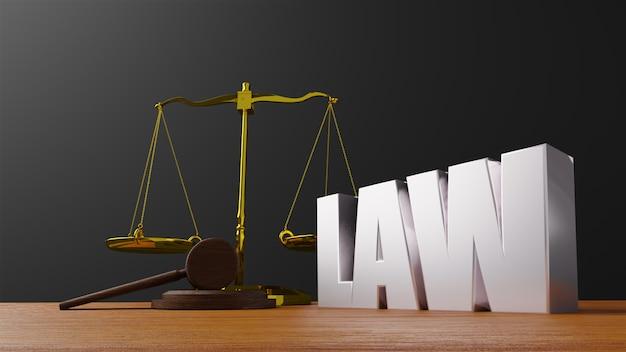 Bilancia della giustizia bilancia della legge e legge del martello giudice di legno martelletto martello e base rendering 3d con legge del messaggio