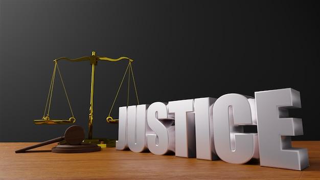 Bilancia della giustizia bilancia della legge e legge del martello giudice di legno martelletto martello e base rendering 3d con messaggio giustizia