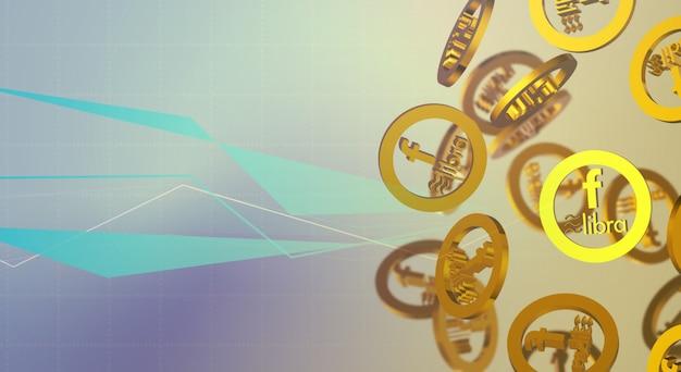 Bilancia facebook 3d rendering contenuto di criptovaluta.