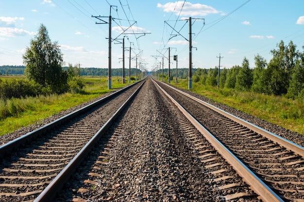 Binari ferroviari, campo e foresta