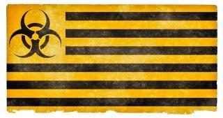 Biohazard grunge, bandiera, mettere in guardia