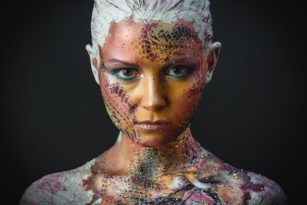 Bird girl fantasy makeup