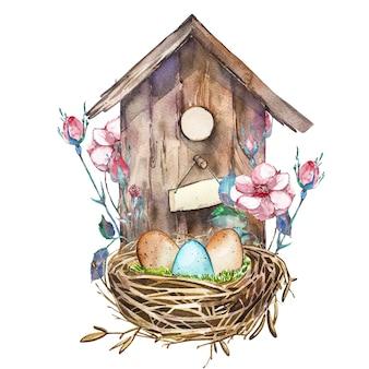 Birdhouse dell'acquerello con i fiori della primavera, uova. nido dipinto a mano che si affaccia sugli scaffali design pasquale