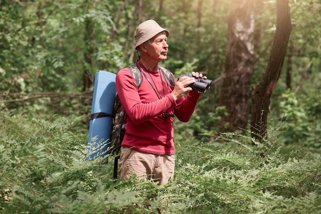 Birdwatching dell'uomo anziano mentre stando all'aperto nella foresta, analizzando i suoi dintorni con il binocolo.